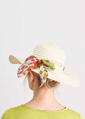 Natural colour sun hat with printed scarf around the brim