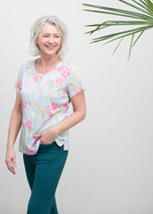 Tabatha Tee - Botanic Print and Frankie Trousers - Teal