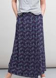 Grey Marl jersey t-shirt with ginkgo print jersey maxi skirt