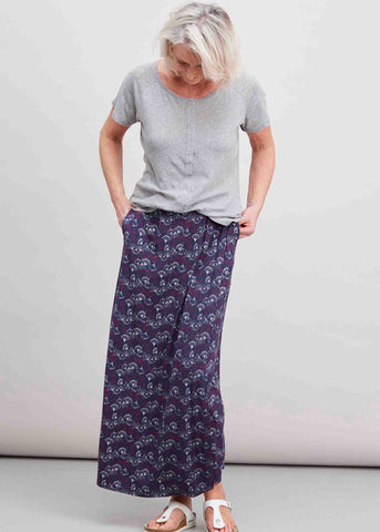 Debbie maxi skirt in gingko print with tabatha tee grey