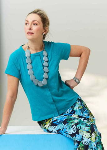 Jade Tabatha Tee with Leaf Print Skirt | The Able Label Clothing