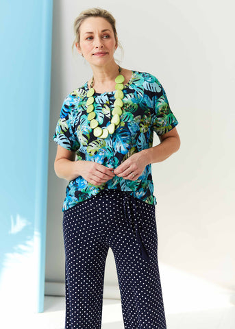 Leaf Print Tabatha Tee with Palazzo Trousers | The Able Label Clothing
