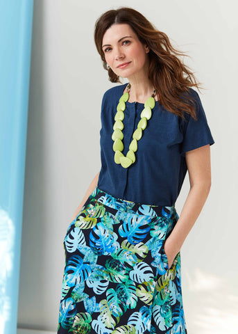 Tabatha Tee Navy with Leaf Pint Debbie Skirt | The Able Label