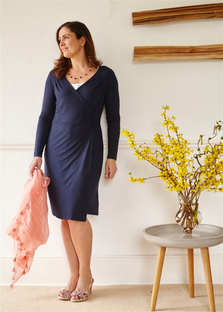 Su Jersey Long Sleeve Velcro Wrap Dress - Shibori Navy: VAT Exempt