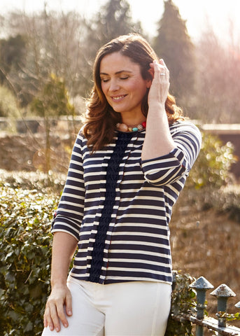Claudia Jersey Top - Navy Stripe