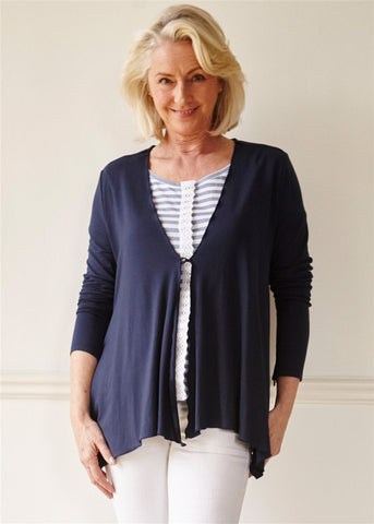 Molly Jersey Waterfall Cardi - Shibori Navy