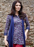 Imogen Jersey Long Sleeve Velcro Shirt - Gingko Print Navy: VAT Exempt