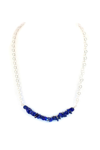 Jane Bar Magnetic Necklace - Shibori Navy