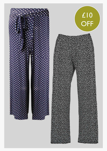 2 Pack Printed Jersey Pull On Trousers