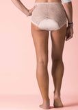 Absorbent Full Brief Lace Knickers - Beige: VAT Exempt