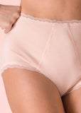 Absorbent Full Brief Plain Bamboo Knickers - Beige: VAT Exempt