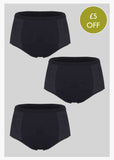3 Pack Super Absorbent Knickers - Black