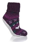 Amanda Non-Slip Slipper Socks - Plum Purple