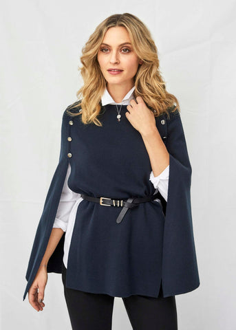 Hannah Luxury Knit Poncho - Navy
