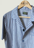 Andrew Pure Cotton Short Sleeve Velcro Nightshirt - Blue Stripe: VAT Exempt