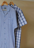 Andrew Pure Cotton Short Sleeve Velcro Nightshirt - Blue Check: VAT Exempt