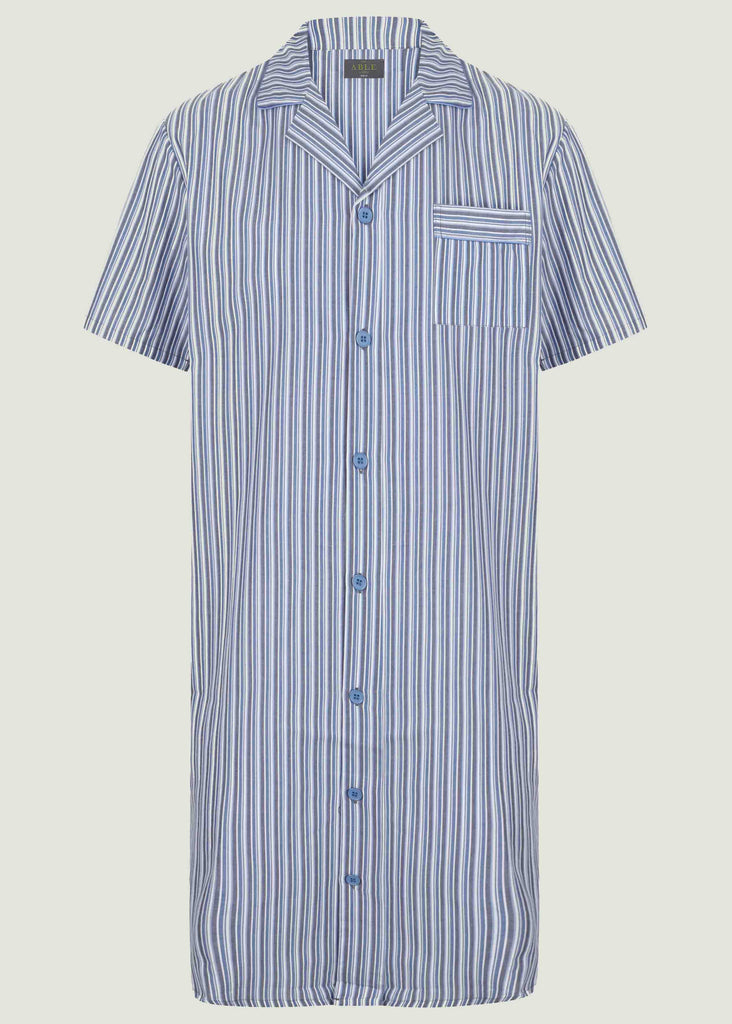 Andrew Pure Cotton Short Sleeve Velcro Nightshirt - Blue Stripe