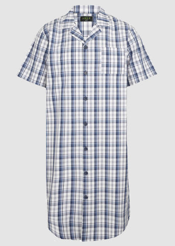 Andrew Pure Cotton Short Sleeve Velcro Nightshirt - Blue Check