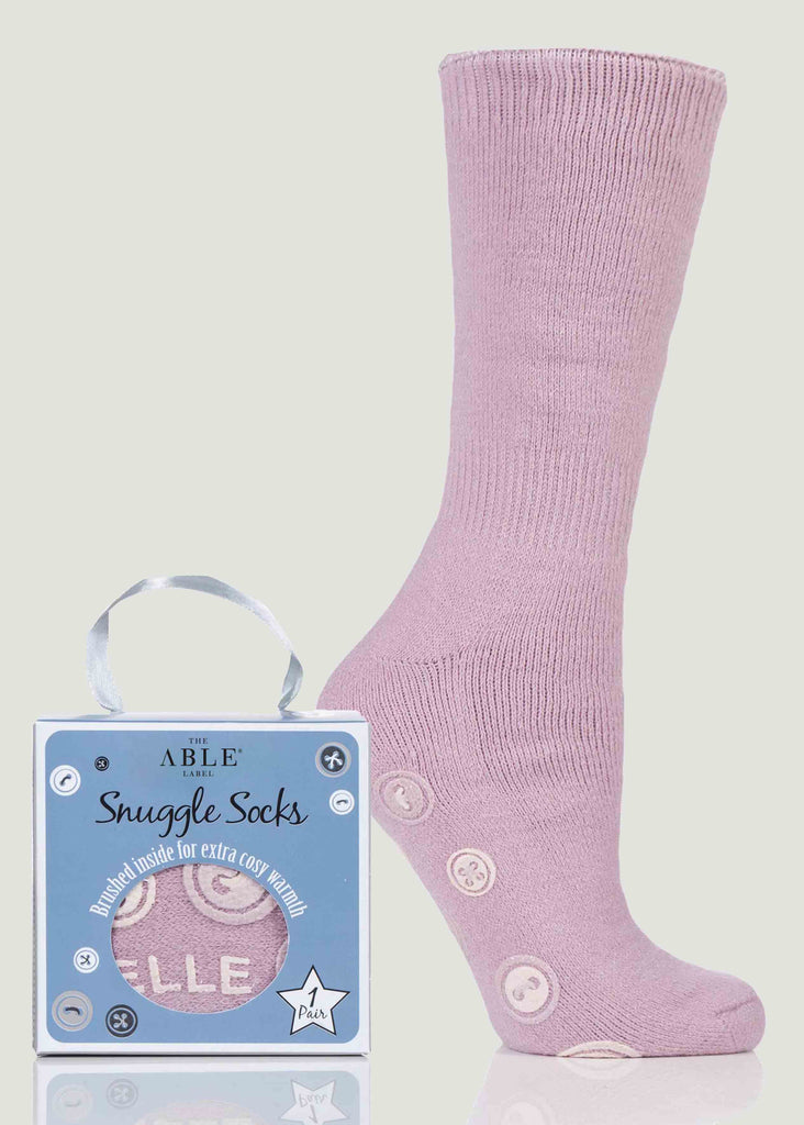 Anna Non-Slip Bed Sock Gift Box - Pink Peony