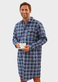 Anthony Brushed Cotton Long Sleeve Half Placket Velcro Nightshirt - Blue Check