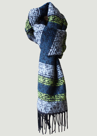 Aurora Knitted Stripe Scarf - Golden Lime