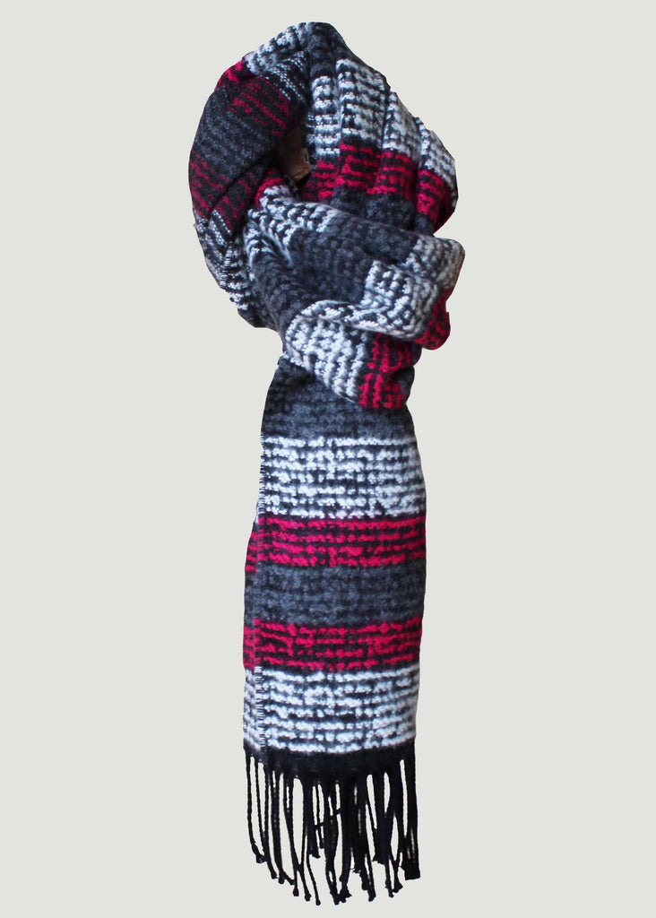 Aurora Knitted Stripe Scarf - Paradise Pink