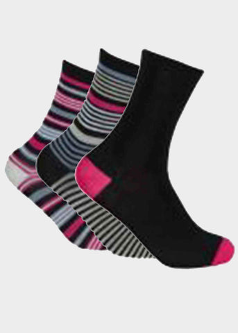 Bamboo Ladies Gentle Grip Socks 3 Pair Pack - Black Patterned