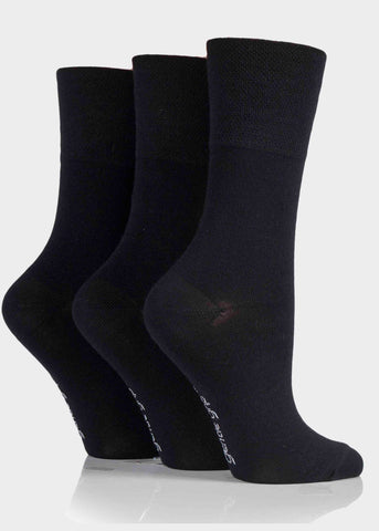 Bamboo Ladies Gentle Grip Socks 3 Pair Pack - Plain Black
