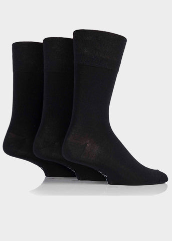 Bamboo Mens Gentle Grip Socks 3 Pair Pack - Plain Black