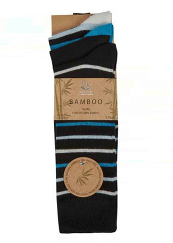 Bamboo Mens Gentle Grip Socks 3 Pair Pack - Black Patterned