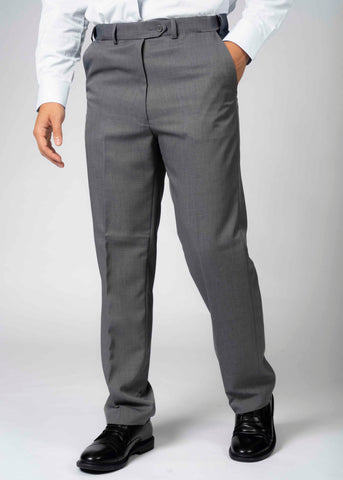 Blake Straight Loose Fit Velcro Fly Smart Trousers - Mid Grey