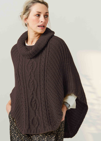 Blanche Cable Knit Poncho - Mocha
