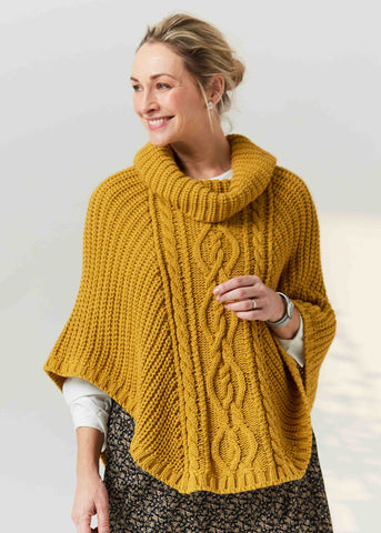 Blanche Cable Knit Poncho - Mustard