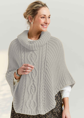 Blanche Cable Knit Poncho - Oatmeal