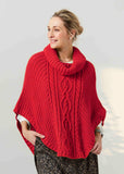 Blanche Cable Knit Poncho - Berry Red