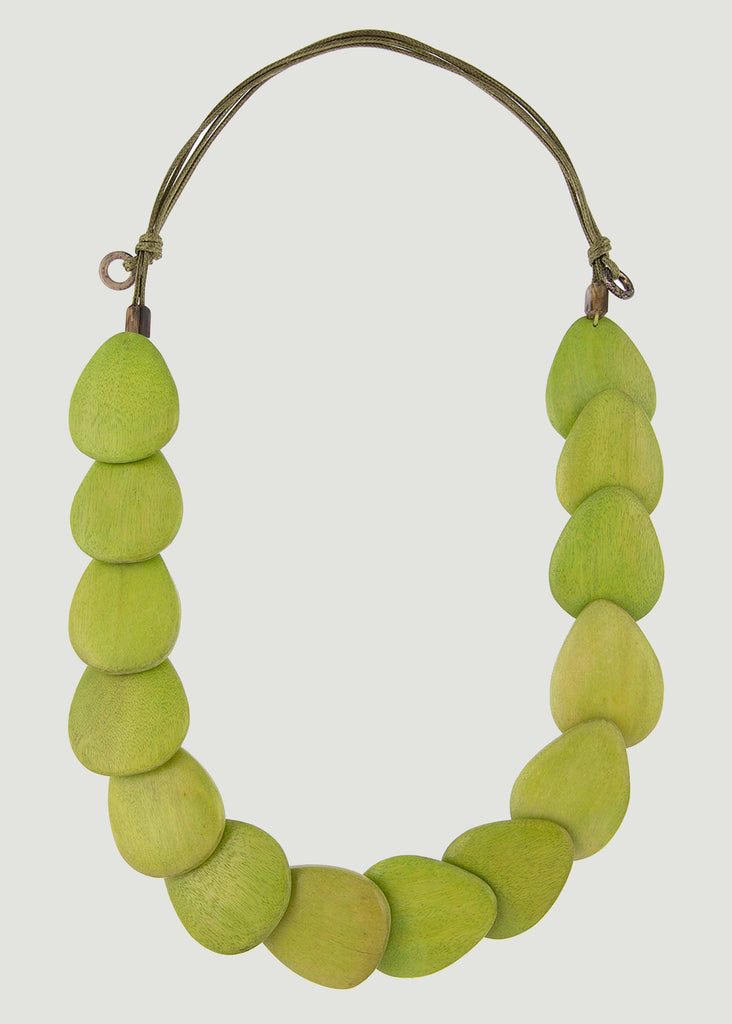 Botanic Adjustable Wooden Necklace - Lime