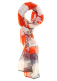 Botanic Print Scarf - Orange Stripe