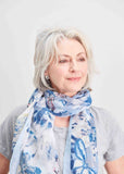 Butterfly Detail Print Scarf - Seaspray