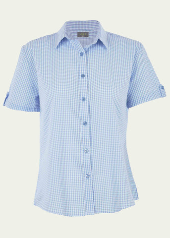 Camilla Seersucker Short Sleeve Velcro Shirt - Light Blue