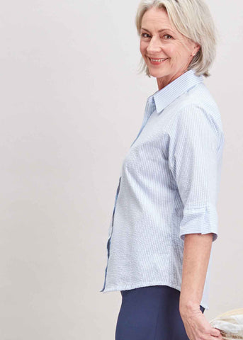 Camilla Seersucker Half Sleeve Velcro Shirt - Soft Blue: VAT Exempt