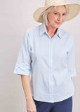 Camilla Seersucker Half Sleeve Velcro Shirt - Soft Blue
