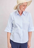 Camilla Seersucker Half Sleeve Shirt - Soft Blue