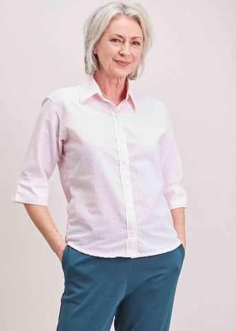 Camilla Seersucker Half Sleeve Shirt - Soft Pink: VAT Exempt