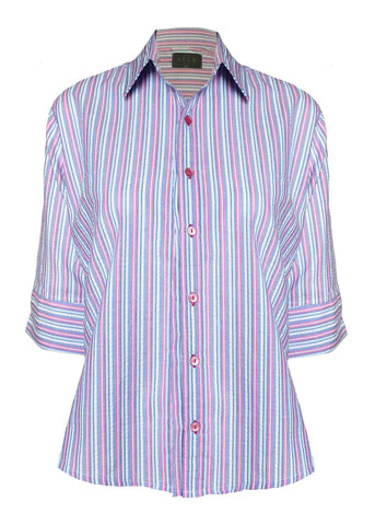Camilla Seersucker Half Sleeve Shirt - Plum Stripe: VAT Exempt