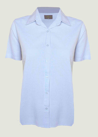 Camilla Seersucker Short Sleeve Velcro Shirt - White: VAT Exempt