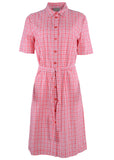 Carmel Pure Cotton SS Woven Check Velcro Shirt Dress - Coral: VAT Exempt