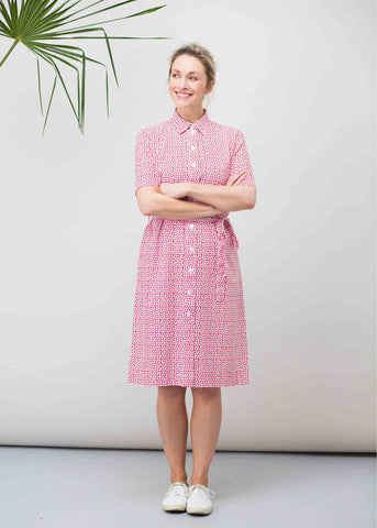 Carmel Pure Cotton SS Woven Floral Velcro Shirt Dress - Red