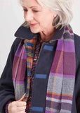 Carol Check Knitted Scarf - Plum Purple