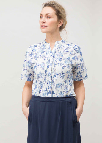 Cassie Pure Cotton Short Sleeve Floral Velcro Shirt - Blue Rose