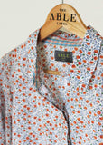 Charlie Pure Cotton Floral Print Long Sleeve Velcro Shirt - Coral